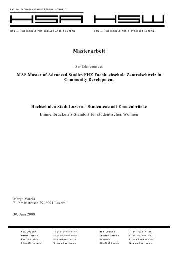 Hochschulen Luzern - Studentenstadt Emmenbrücke - vlp-aspan