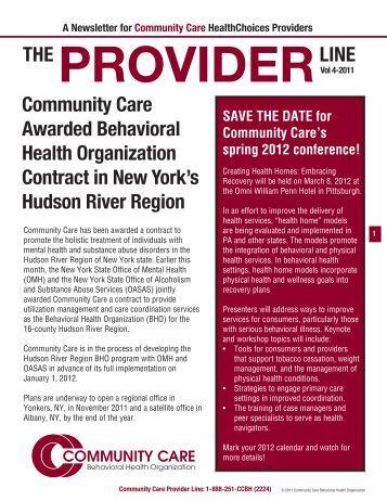 Provider Newsletter October 2011 - Community Care Behavioral ...