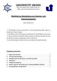 Merkblatt zur Erstellung einer Seminar- oder Abschlussarbeit