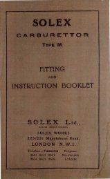 SOLEX CARBURETTOR TYPE M FITTING AND INSTRUCTION ...