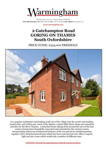 2 Gatehampton Road GORING ON THAMES South ... - Warmingham