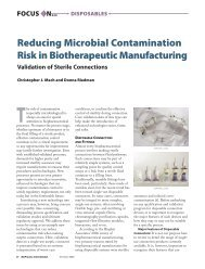 Reducing Microbial Contamination Risk in Biotherapeutic ...