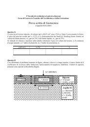 Prova scritta di Geotecnica - Sede di Architettura