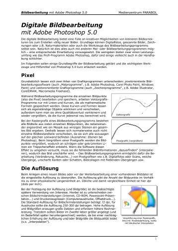 Digitale Bildbearbeitung mit Photoshop 5.0 - Medienzentrum Parabol