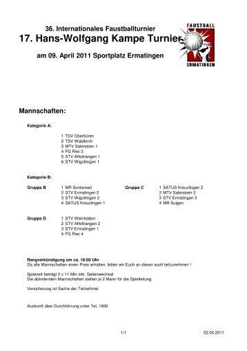 Download Spielplan - Faustball SATUS Kreuzlingen