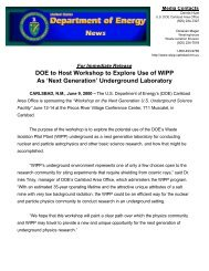 DOE to host workshop to explore use of WIPP as 'next generation ...