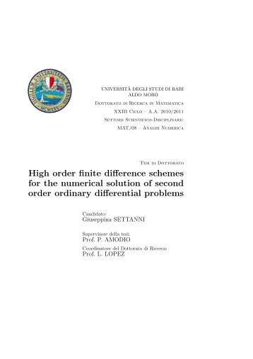 High order finite difference schemes for the numerical solution of ...