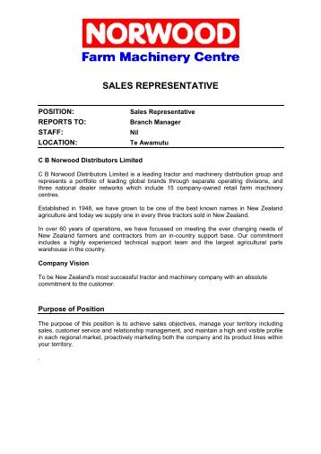 Job Description  Sales Representative General    Black Creek