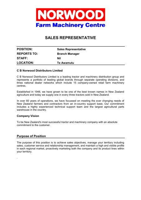 Sales Rep Job Description | Te Awamutu Sales Representative Job Description Liveupdater