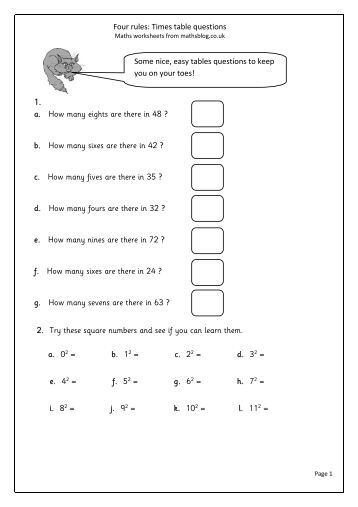 Number Names Worksheets : year 2 times tables worksheets ~ Free ...