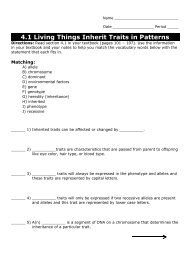 4.1 Living Things Inherit Traits in Patterns