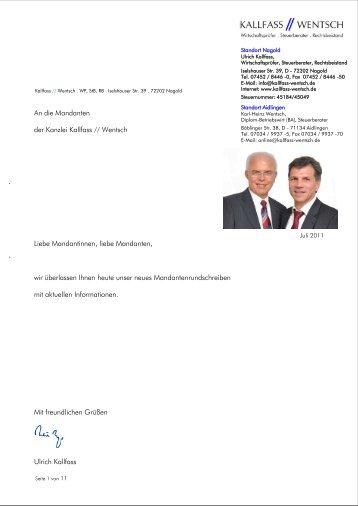 . . An die Mandanten der Kanzlei Kallfass // Wentsch Liebe ...