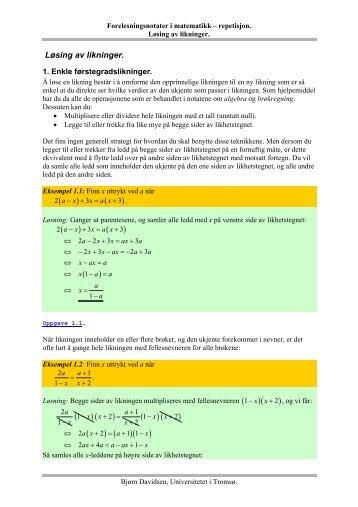 Løsing av likninger - Universitetet i Tromsø