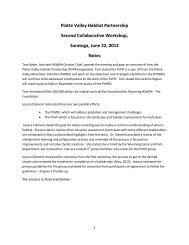 Platte Valley Habitat Partnership Second Collaborative Workshop ...