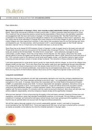 Stora Enso's Bulletin for Stakeholders regarding our operations