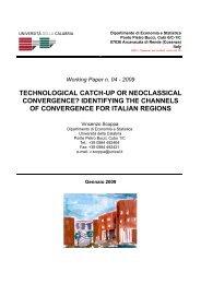 t - Dipartimento di Economia e Statistica - Università della Calabria