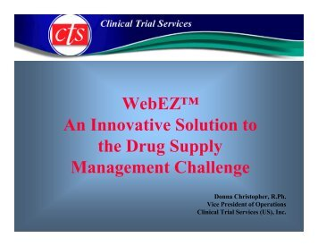 WebEZ™ An Innovative Solution to the Drug Supply ... - Almac