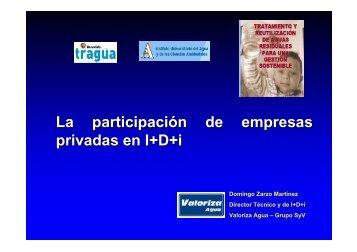 La participación de empresas privadas en I+D+i - Valoriza Agua