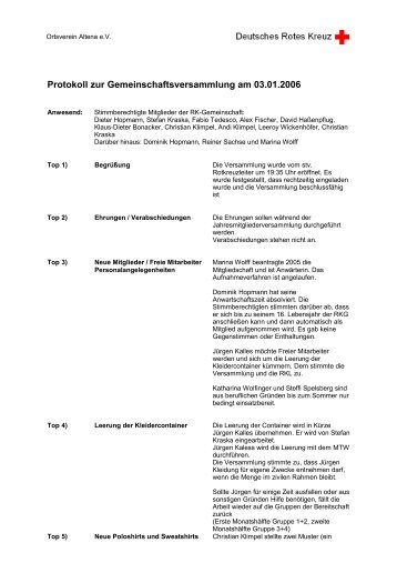 Protokoll zur Gemeinschaftsversammlung am 03.01.2006