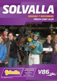 ONSDAG 7 NOVEMBER - Solvalla