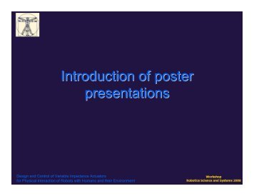 Introduction to posters - Vrije Universiteit Brussel