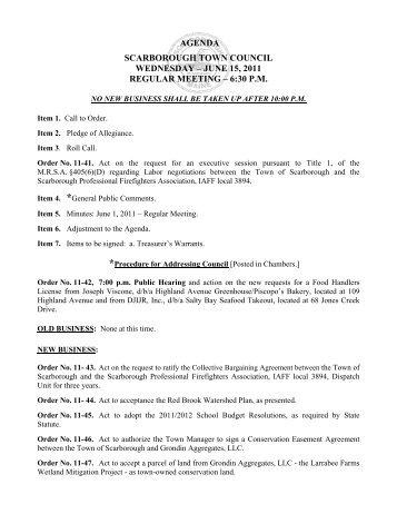 june 15, 2011 regular meeting – 6:30 pm - Town of Scarborough