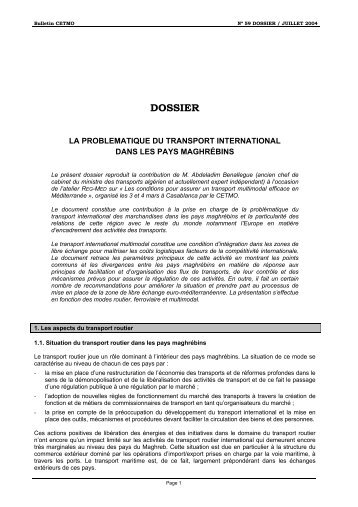 la problematique du transport international dans les pays ... - cetmo
