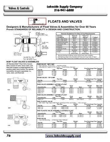 Robert: Float Valves - Lakeside Supply Company