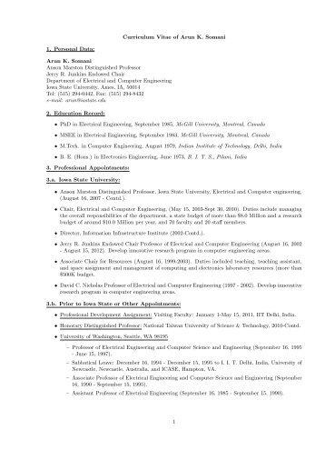 curriculum vitae of arun k somani iowa state university