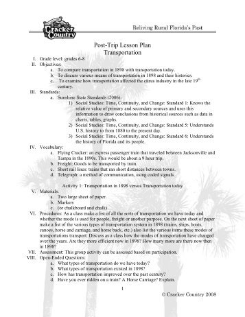 Social Life Lesson Plan (grades 6-8) - Cracker Country