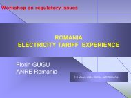 Romania Electricity Tariff Experience - Narucpartnerships.org