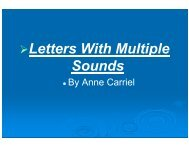 Letters With Multiple Sounds.ppt