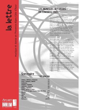 La Lettre n°03 - Arcade Provence-Alpes-Côte d'Azur