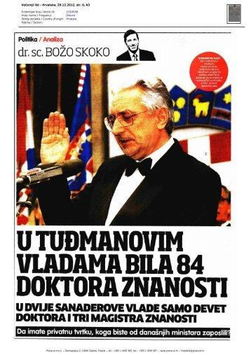 Večernji list - Hrvatska, 29.12.2012, str. 6, A3