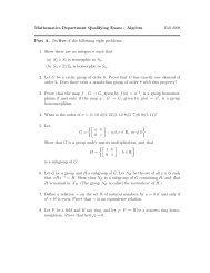 Mathematics Department Qualifying Exam : Algebra Fall 2008 Part A ...