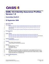 SAML V2.0 Identity Assurance Profiles, Version 1.0 - OASIS Open ...