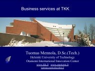 Tuomas Mennola, D.Sc.(Tech.) Business services at TKK