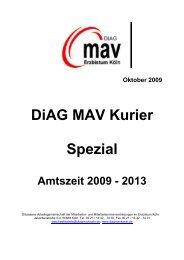 Oktober 2009 DiAG MAV Kurier Spezial Amtszeit ... - Erzbistum Köln
