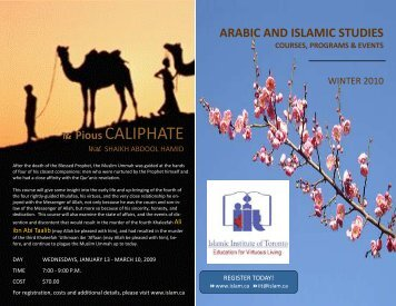 The Pious CALIPHATE - Islamic Institute of Toronto