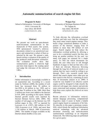 Automatic summarization of search engine hit lists - CiteSeerX