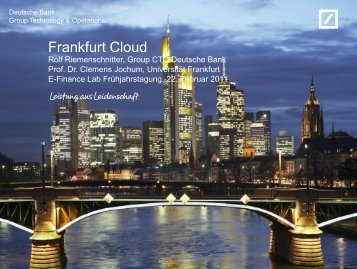Frankfurt Cloud - E-Finance Lab Frankfurt am Main