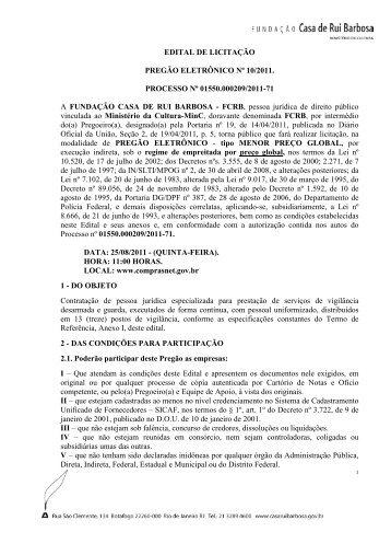 EDITAL DE LICITAÇÃO PREGÃO ELETRÔNICO Nº 10/2011 ...