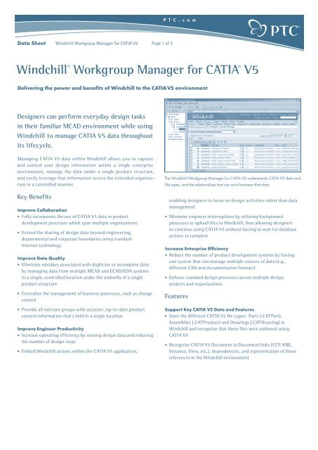 Windchill® Workgroup Manager for CATIA® V5