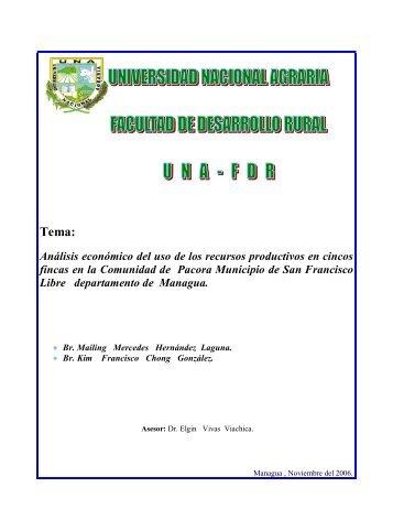Análisis económico del uso de los recursos productivos en cincos ...