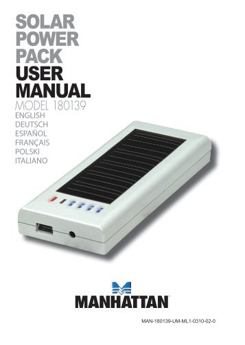 SOLAR POWER PACK USER MANUAL