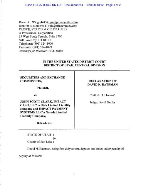 Case 1:11-cv-00046-DN-EJF Document 251 Filed 08/10/12 Page 1 ...
