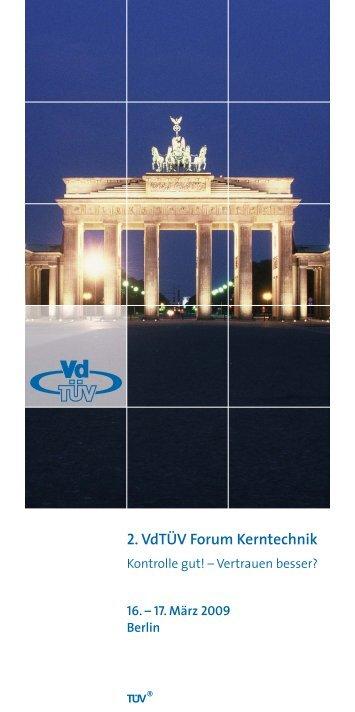 Programm 2. VdTÜV Forum Kerntechnik - Kerntechnische ...