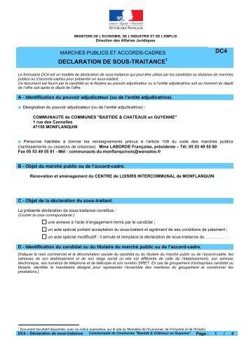 declaration-sous-traitance - Communauté de communes du ...