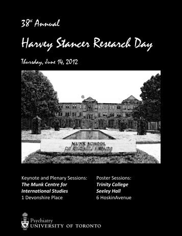38th Annual Harvey Stancer Research Day - Department of Psychiatry