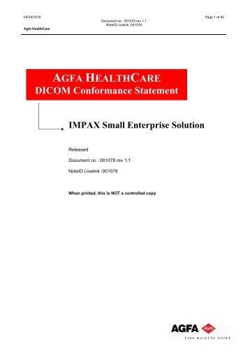 AGFA HEALTHCARE DICOM Conformance Statement IMPAX Small ...